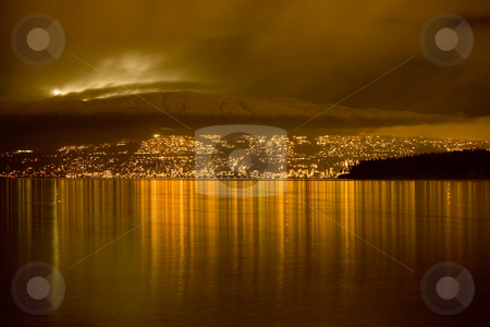 North Vancouver At Night Under Lights of Cyrpress Ski Resort stock photo, North Vancouver at night under Golden Lights Under Lights of Cypress Ski Resort by William Perry
