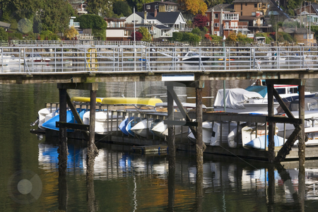 Deep Cove Harbor Vancouver BC Canada stock photo, Deep Cover Harbor Boats Pier Reflections Vancouver British Columbia Canada by William Perry