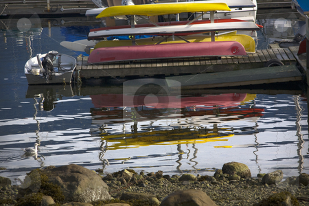 Seagull Boats Reflections Deep Cove Harbor Vancouver BC Canada stock photo, Seagull Boats Reflections Deep Cover Harbor Vancouver British Columbia Canada by William Perry