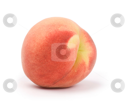 Ripe peach stock photo, Isolated ripe peach on white background by Lawren