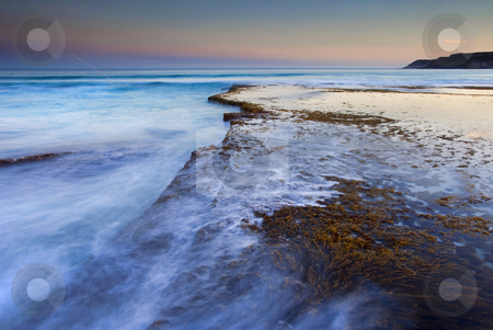 Sunset Shelf stock photo, Sunset over a tidepool and shelf at Pennington Bay, South Australia by Mike Dawson