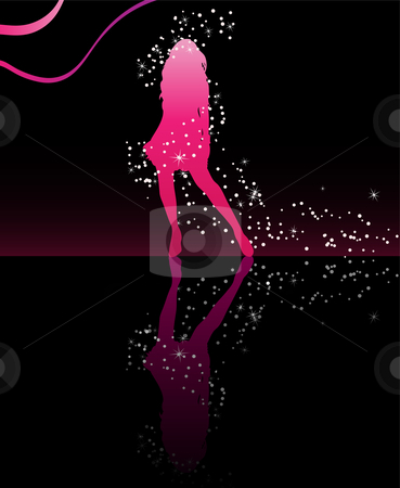 Girl Dancing Stars stock vector clipart, Sexy girl dancing with with stars around her body by Augusto Cabral Graphiste Rennes