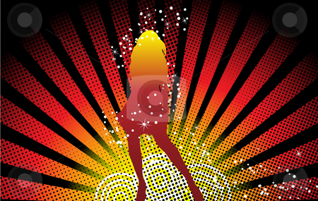 Girl Dancing Stars stock vector clipart, Sexy girl dancing with stars over grunge background by Augusto Cabral Graphiste Rennes