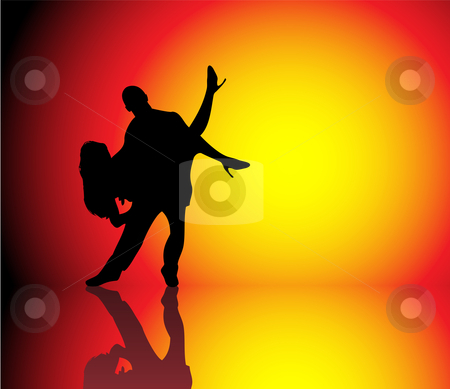 Couple Dancing stock vector clipart, Silhouette of Couple dancing on beautiful hot background by Augusto Cabral Graphiste Rennes