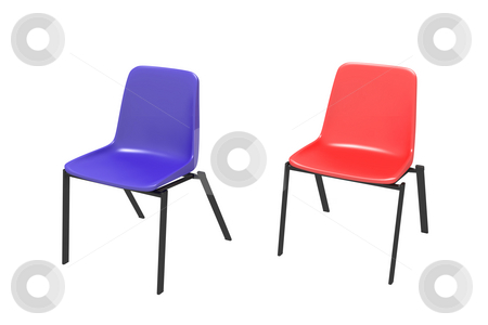 Two chairs  stock photo, Two chairs on a white background - dark blue and red by Aleksandr GAvrilov