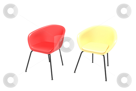 Two chairs stock photo, Two chairs on a white background - yellow and red by Aleksandr GAvrilov