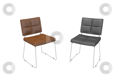 Office chairs stock photo, Office two chairs on a white background by Aleksandr GAvrilov