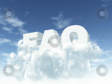 Faq stock photo, The letters faq in fluffy clouds - 3d illustration by J?
