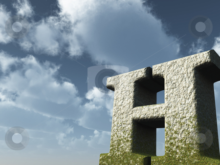 Letter h stock photo, Letter H rock in front of blue sky - 3d illustration by J?