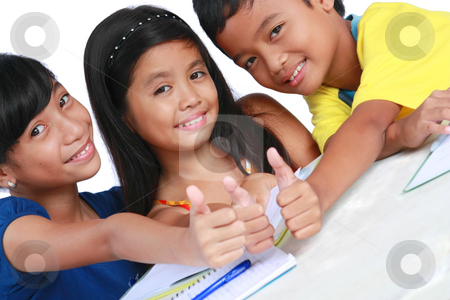 Students stock photo, Young asian students making a thumbs up sign by Claro Alindogan
