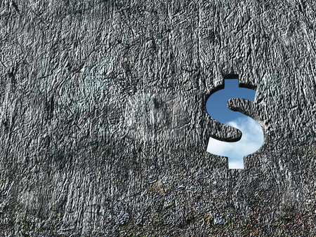 Dollar hole stock photo, Dollar hole in wound - 3d illustration by J?