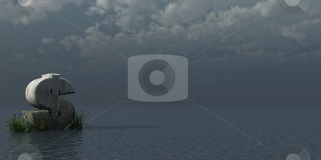 Business monument stock photo, Dollar rock in dark water landscape - 3d illustration by J?