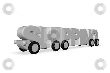 Shipping stock photo, The word shipping on wheels - 3d illustration by J?