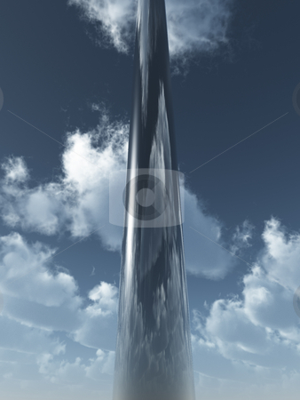 High stock photo, Metal column in the sky - 3d illustration by J?