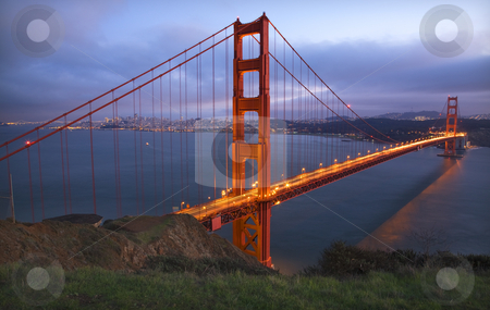 Headlands Golden Gate Bridge Evening with Lights San Francisco C stock photo, Golden Gate Bridge Headlands Evening with Lights San Francisco California by William Perry