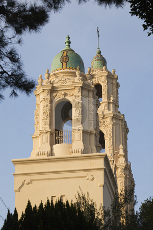 Mission Dolores San Francisco California stock photo, Mission Dolores Steeples Ornate Carvings San Francisco California by William Perry