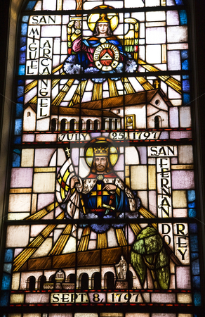 Saint Michael San Fernando Stained Glass Mission Dolores San Fra stock photo, Saint Michael San Fernando Stained Glass Mission Dolores Saint Francis De Assis San Francisco California, by William Perry
