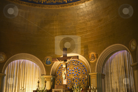 Basilica Crucified Jesus Cross Mission Dolores San Francisco Cal stock photo, Crucified Jesus Cross Basilica Mission Dolores San Francisco California by William Perry