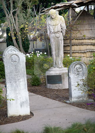 Monk Statue Cemetary Mission Dolores San Francisco California stock photo, Monk Statue Cemetary Grave Yard Mission Dolores San Francisco California by William Perry