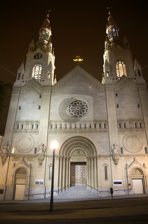Saint Peter and Paul White Catholic Church Night San Francisco C stock photo, Saint Peter and Paul White Catholic Church at Night San Francisco California by William Perry