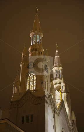 Saint Peter Paul Catholic Church Steeples Night San Francisco Ca stock photo, Saint Peter and Paul Catholic Church Steeples at night San Francisco California by William Perry