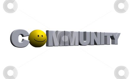 Community stock photo, The word community with a smiley - 3d illustration by J?
