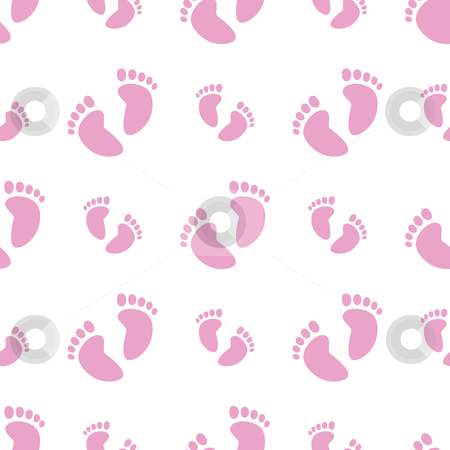 Seamless Baby Feet Background stock vector clipart, Vector illustration of a seamless baby feet pattern in pink by Inge Schepers