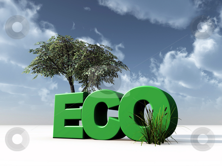 Eco stock photo, The letters eco and a tree in front of cloudy blue sky - 3d illustration by J?