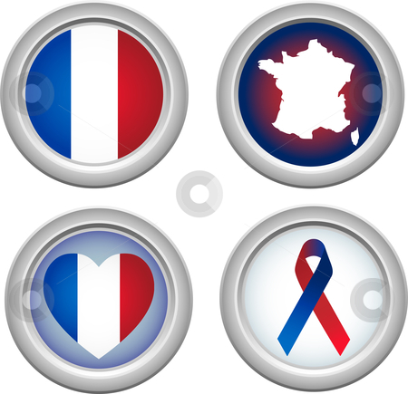 France Buttons stock vector clipart, France Buttons for 14 of July by Augusto Cabral Graphiste Rennes