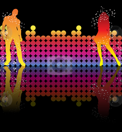 Couple Rainbow Stars stock vector clipart, Sexy couple dancing on a rainbow background by Augusto Cabral Graphiste Rennes