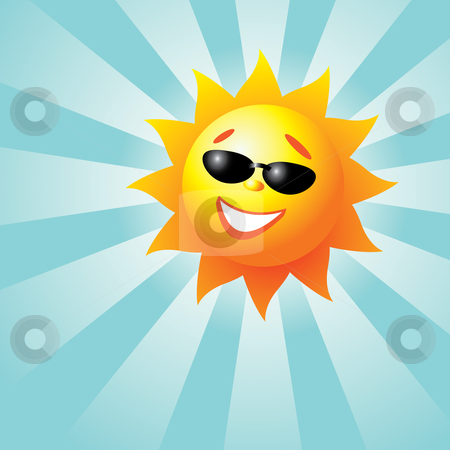 Smiling Sun stock vector clipart, Vector illustration of a smiling sun with sunrays by Inge Schepers