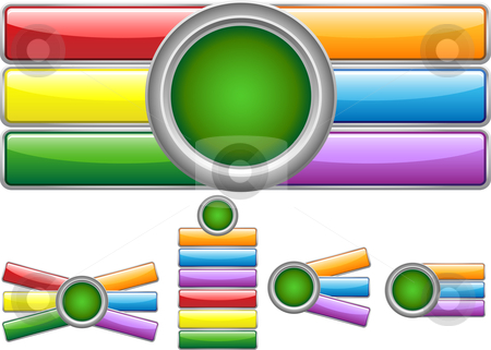 Web Buttons stock vector clipart, Glossy web buttons with colored bars by Augusto Cabral Graphiste Rennes