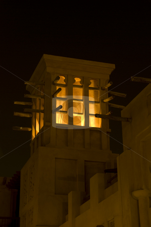 Wind tower in madinat stock photo, Wind tower in Madinat Jumeihra at night by Roman Kalashnikov