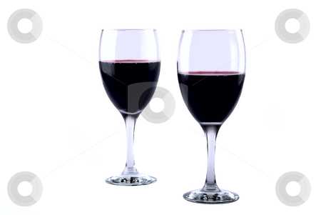 Wine Glasses stock photo, Set of two full wine glasses on white background by Roman Kalashnikov