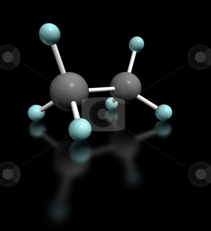 Etano Nero stock photo, 3d render molecular model of ethane on black background by ANTONIO SCARPI