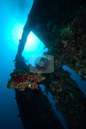 The stern section of the shipwreck Dunraven. Low angle view stock photo, The stern section of the shipwreck Dunraven. Low angle view. Red Sea, Egypt. by Mark Doherty