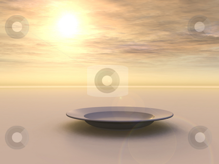 Plate stock photo, Dinner plate in the sunset - 3d illustration by J?