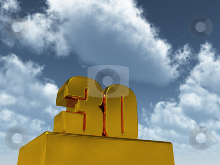 Thirty stock photo, The number thirty - 30 -  in front of blue sky - 3d illustration by J?