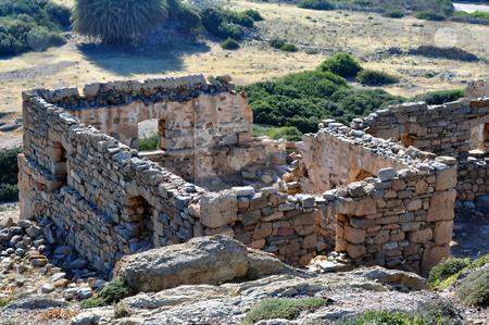 Ancient ruins in Crete, Greece stock photo, Travel photography: Ruins at the Itanos minoan archaeological site, near   Vai, Crete, Greece by Fernando Barozza