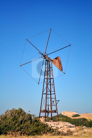 Old mill stock photo, Travel photography: Old rusty mill in the island of Crete by Fernando Barozza