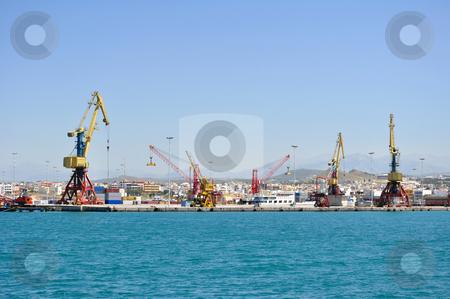Cranes, loading equipment, port of Heraklion stock photo, Cranes at Iraklion port in Crete, Greece by Fernando Barozza