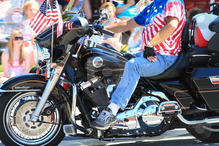 Fourth of july stock photo, Motorcycle in parade by Jack Schiffer