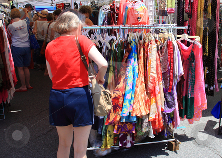 Shopping stock photo, Shopping at a out door market during forthof july celebration by Jack Schiffer