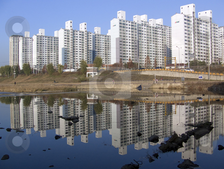 Korean Buildings stock photo, Typical apartment buildings in South Korea by Jennifer Vey