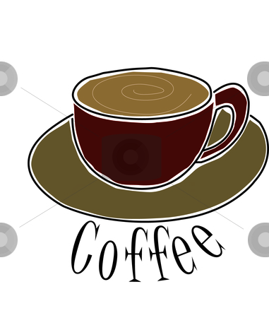 Cup Of Coffee stock vector clipart, Illustration of a cup of coffee with text. by W. Paul Thomas