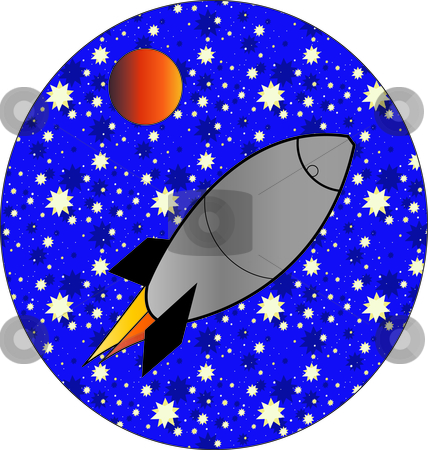 Rocket Ship stock vector clipart, Illustration of a rocket ship shooting into outer space.. by W. Paul Thomas