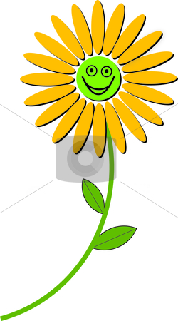 Smiling Flower stock vector clipart, Illustration of a smiling yellow flower. by W. Paul Thomas