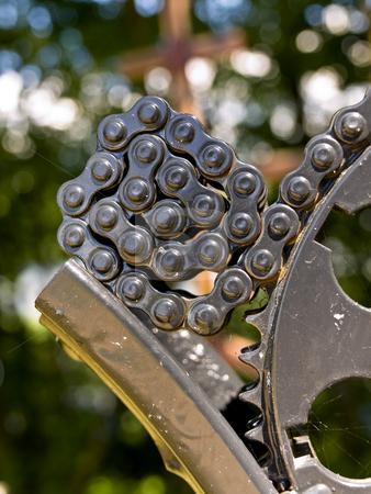 Chain  stock photo, motorcycle chain closeup by Sergej Razvodovskij