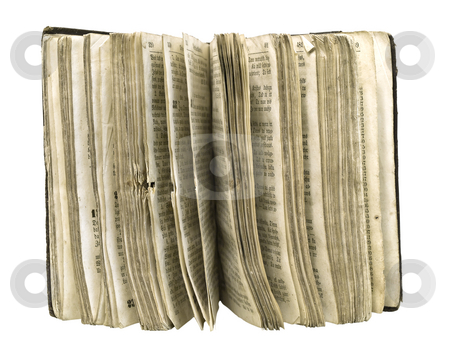 Book  stock photo, Isolated old book pages against the white background by Sergej Razvodovskij