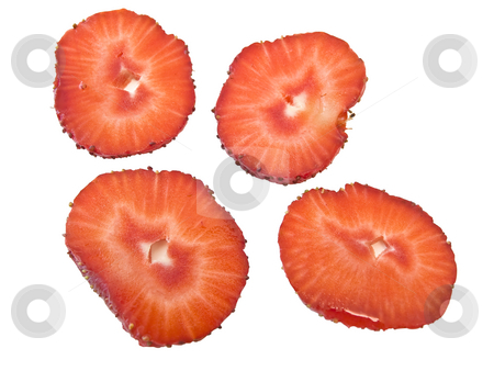 Strawberry  stock photo, Isolated strawberry slices against the white background by Sergej Razvodovskij